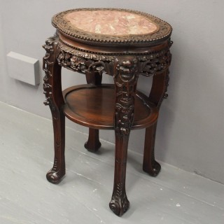 Chinese Hongmu and Pink Marble Top Pedestal