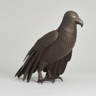 A Japanese Iron Jizai Okimono of an hawk.