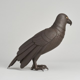 A Japanese Iron Jizai Okimono of an hawk.