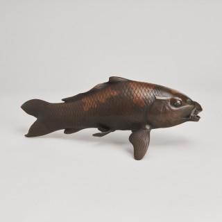 A pair of Japanese Bronze Okimono Carp by Atsuyoshi.