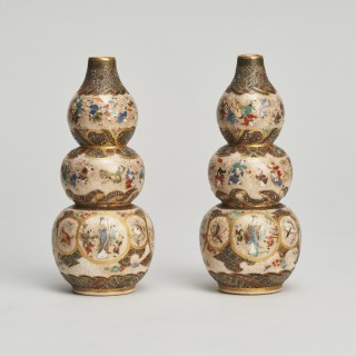 A pair of Japanese miniature triple gourd shaped Satsuma vases.