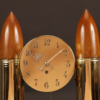 WW1- 1914-1918 Interest, A Historical Interesting Mantel Clock Made From Brass Grenade Shells And A Bullet Shell. Dated: 1914.