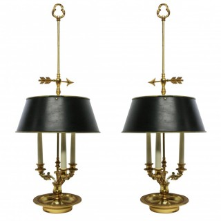 A PAIR OF LARGE BOUILLOTTE LAMPS
