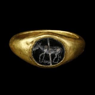 Roman Intaglio Ring with Donkey