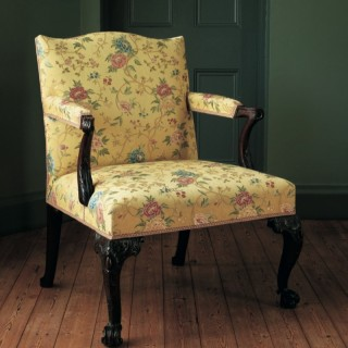 George II period mahogany open arm chair attributed to Matthias Lock
