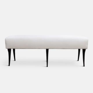 Italian Sculptural Upholstered Ebonised Bench