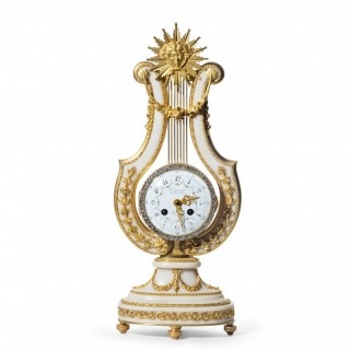 A late 19th century ormolu and white marble mantel clock by Causard