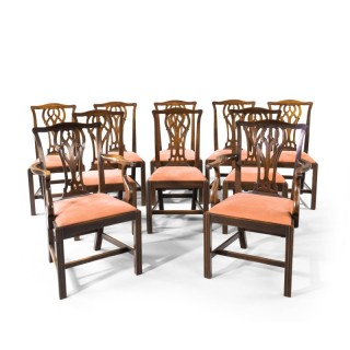 A Particularly Good Set of 10 Early 20th Century Chippendale Style Mahogany Framed Chairs