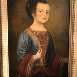 Late 17th Century Oil On Panel Of A Young Girl