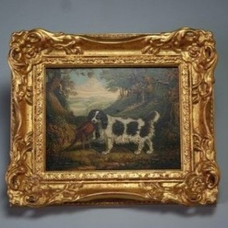 Oil Painting Of A Spaniel, 18th Century
