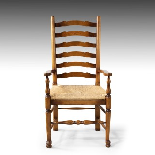A Very Sturdy Set Mid 20th Century of 6 (4+2) Ladderback Country Chairs