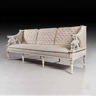 19th Century Swedish Painted Griffin Sofa Gustavian