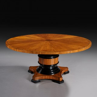 Fine Quality 5 1/2 ft Circular Olive Wood and Ebony Dining Table.
