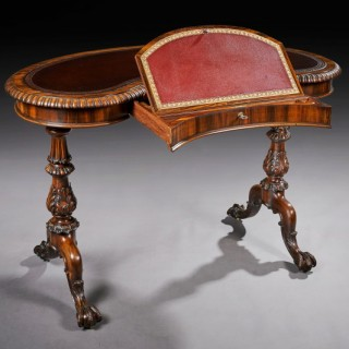 Late Regency Gillows Gonçalo Alves Kidney Shaped Writing Table