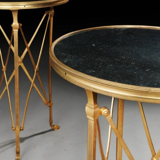 Pair of Gilt Bronze and Marble Topped French Gueridon Tables