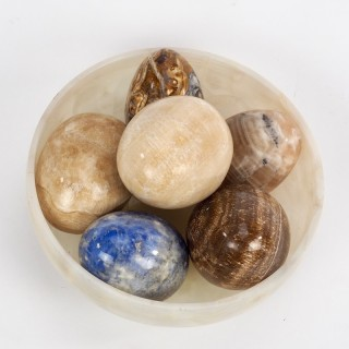 Six Hardstone Eggs in an Alabaster Bowl