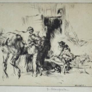 Edmund Blampied - Resting - etching