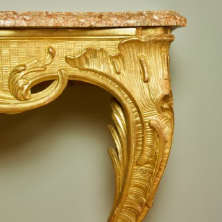 Mid 18th Ct. French Regence/Louis XV Carved Giltwood Rocaille Console Table