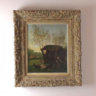 Painter School of Barbizon 19th Century Rural Scene with Peasant Girl and Goats