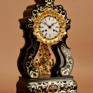 A Spectacular Original French Boulle Inlaid Ebony and Ebonized Portico Clock, Circa 1870