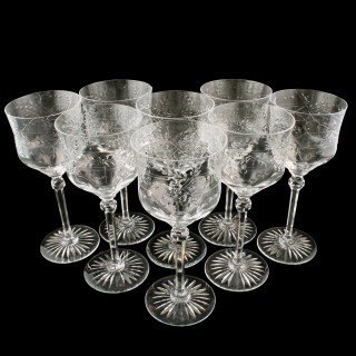 Set of 8 Cut & Etched Wine Glasses