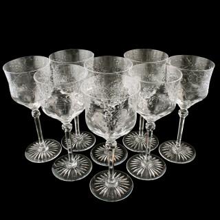 Set of 8 Cut & Etched Wine Glasses