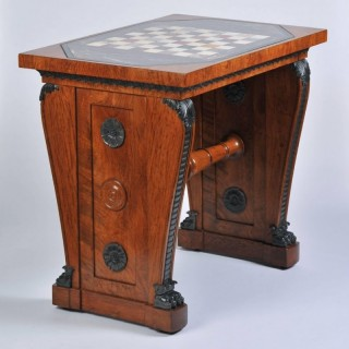 Regency Pollard Oak and Marble Chess Table by G. Bullock to Designs by T. Hope