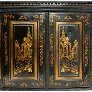 18th Century Italian Chinoserie Lacquer Bureau Bookcase