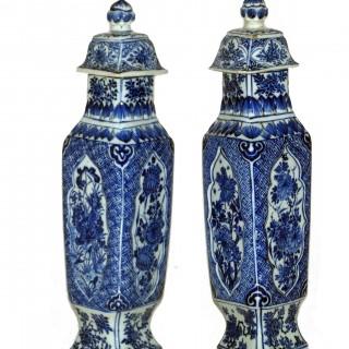 kangxi Pair of Lozenge Shaped Vases