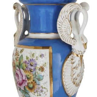 Pair of French Neoclassical style swan handle porcelain vases