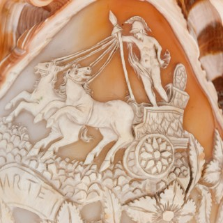 Italian 19th Century sea shell with carved relief of Mars