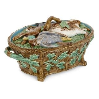 Majolica pie dish with game forms by Minton