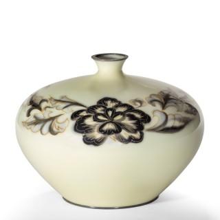 Showa Period Grey and Cream Cloisonné Vase
