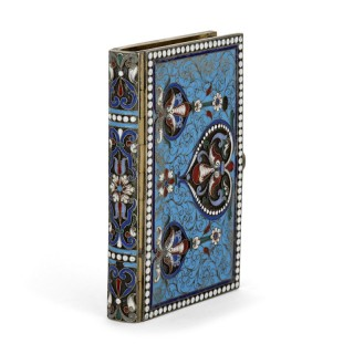 Antique Russian vermeil and cloisonné enamel diary cover