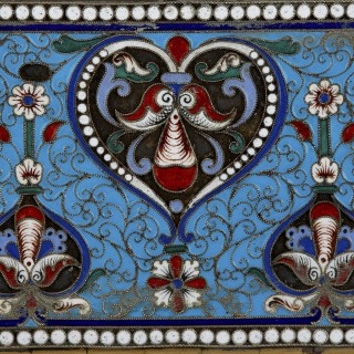 Antique Russian vermeil and cloisonné enamel diary cover