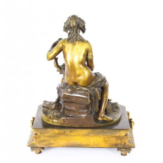 Antique Gilt and Brown Patinated Bronze Figure Group of Mother and Child 19th C