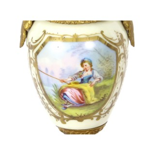 Antique Pair French Sevres Style Porcelain and Ormolu Urns on Stands C 1880