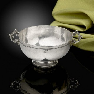 A Fine and Rare low footed Silver Bowl with handles; town mark for Trapani, Sicily C.1690.