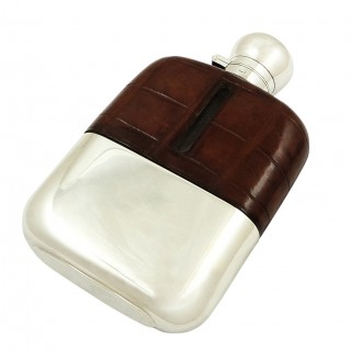 Antique Silver Plated & Crocodile Leather Hip Flask c1880