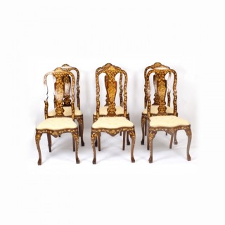 Antique Set 6 Dutch Marquetry Walnut High Back Dining Chairs Late 18th C