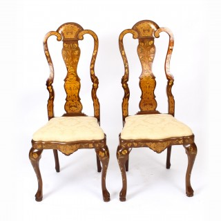 Antique Pair Dutch Floral Marquetry Walnut Dining Chairs Late 18th Century