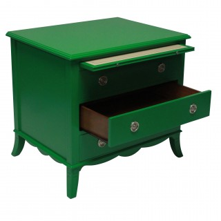 A FABULOUS PAIR OF GREEN LACQUERED CHESTS IN THE MANNER OF DOROTHY DRAPER