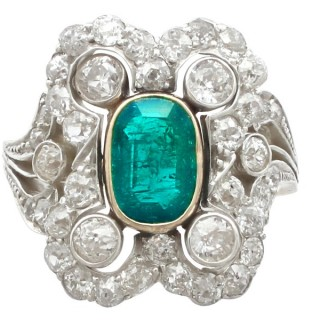 1.12ct Emerald and 1.23ct Diamond, 14ct Yellow Gold Dress Ring - Antique Austro-Hungarian Circa 1895