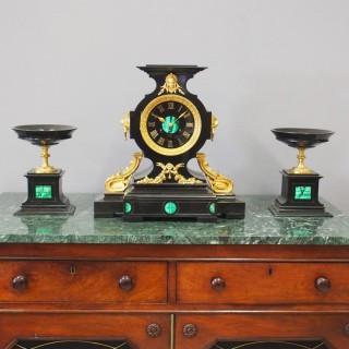 French Slate, Malachite and Gilt Bronze Clock Garniture