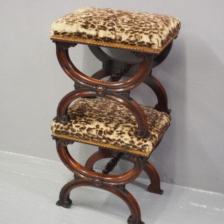 Pair of Rosewood and Leopard Print Top Stools