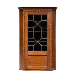 A Most Attractive George III Period Mahogany Corner Cupboard