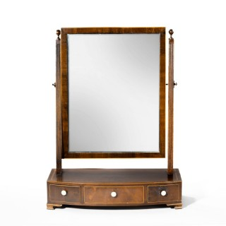 A Good George III Period Mahogany Bow Fronted Toilet Mirror.