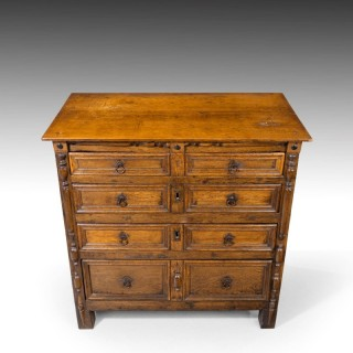 A Good and Most Unusual Early 18th Century Oak Chest of Drawers