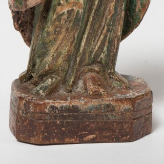 Antique Small Woodcarving Of Saint (Continental, C. 1620)