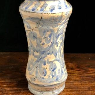 Antique Blue And White Albarello Italy, 17th Century
